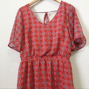 Speechless orange geometric pattern maxi dress